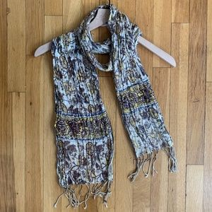 Anthropologie Cotton Gauze Fringed Printed Scarf